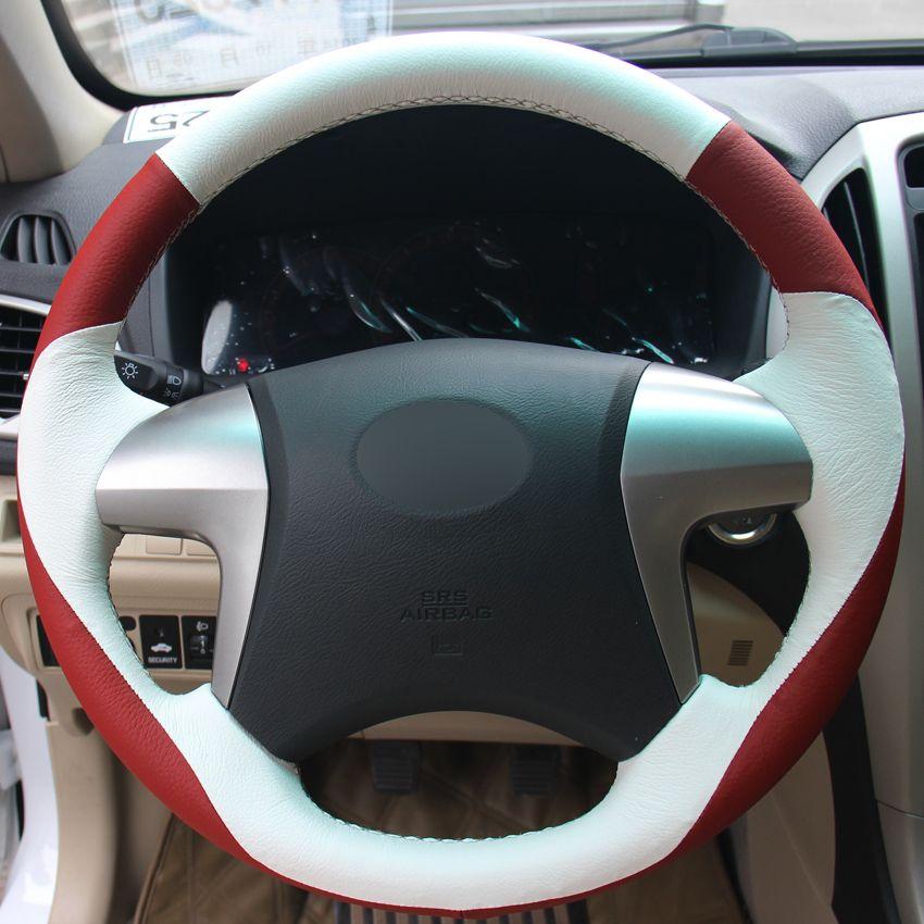 Красный белый натуральная кожа ручной работы автомобилей руль обложка для Toyota Highlander в Тойота Камри 2007-2011