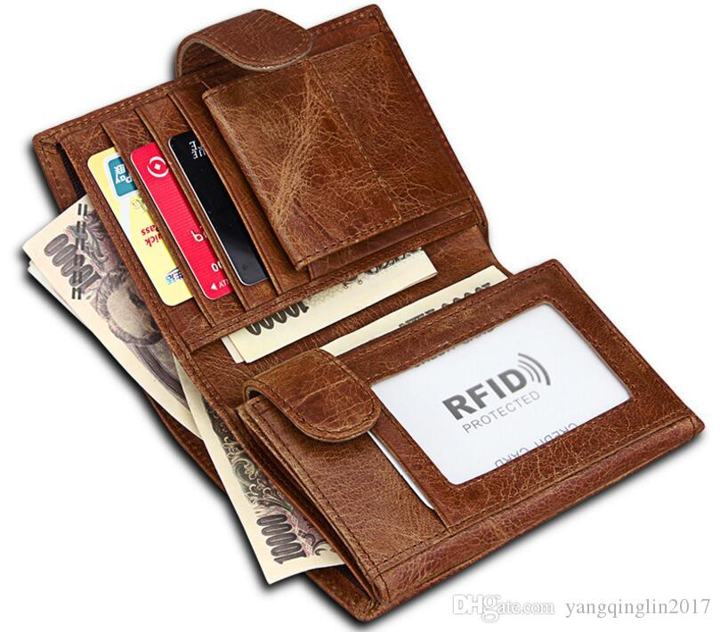 New Thin Card Holder Purse ID Credit Clutch Leather Men Money Clip Bifold Wallet