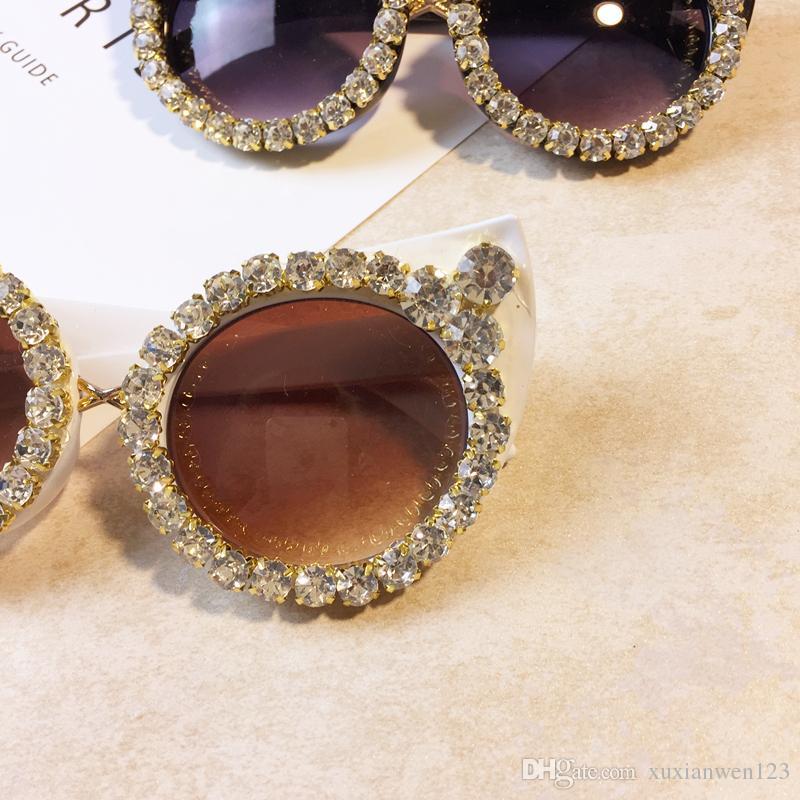 Donne Brand Sunglasses Luxury Designer Designer Eyewear Shades Eyes Sexy Luxury Sunglasses Vintage Rhinestone Cat WBQEM