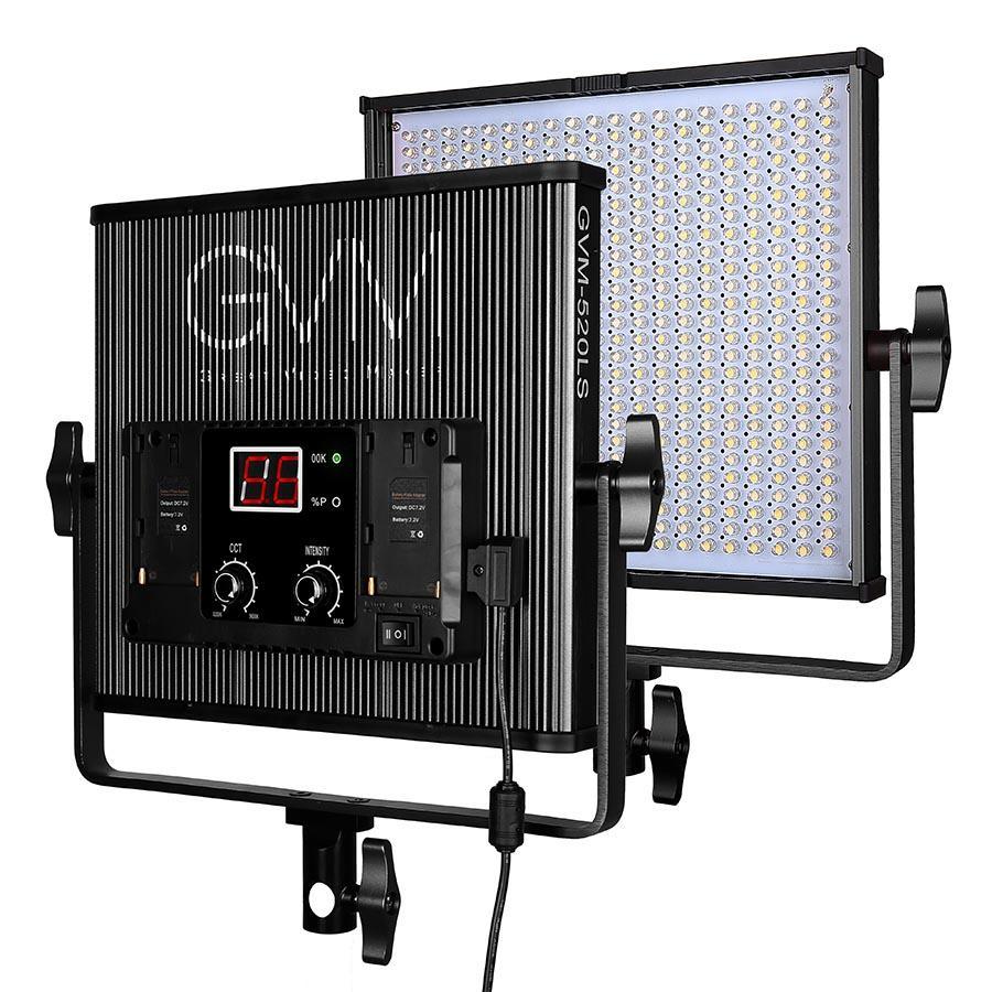 GVM عكس الضوء 520 LED ضوء الفيديو 3200-5600K CRI97 + TLCI97 المهنية LED ضوء الاستوديو لمقابلة التصوير الفوتوغرافي ضوء الفيديو