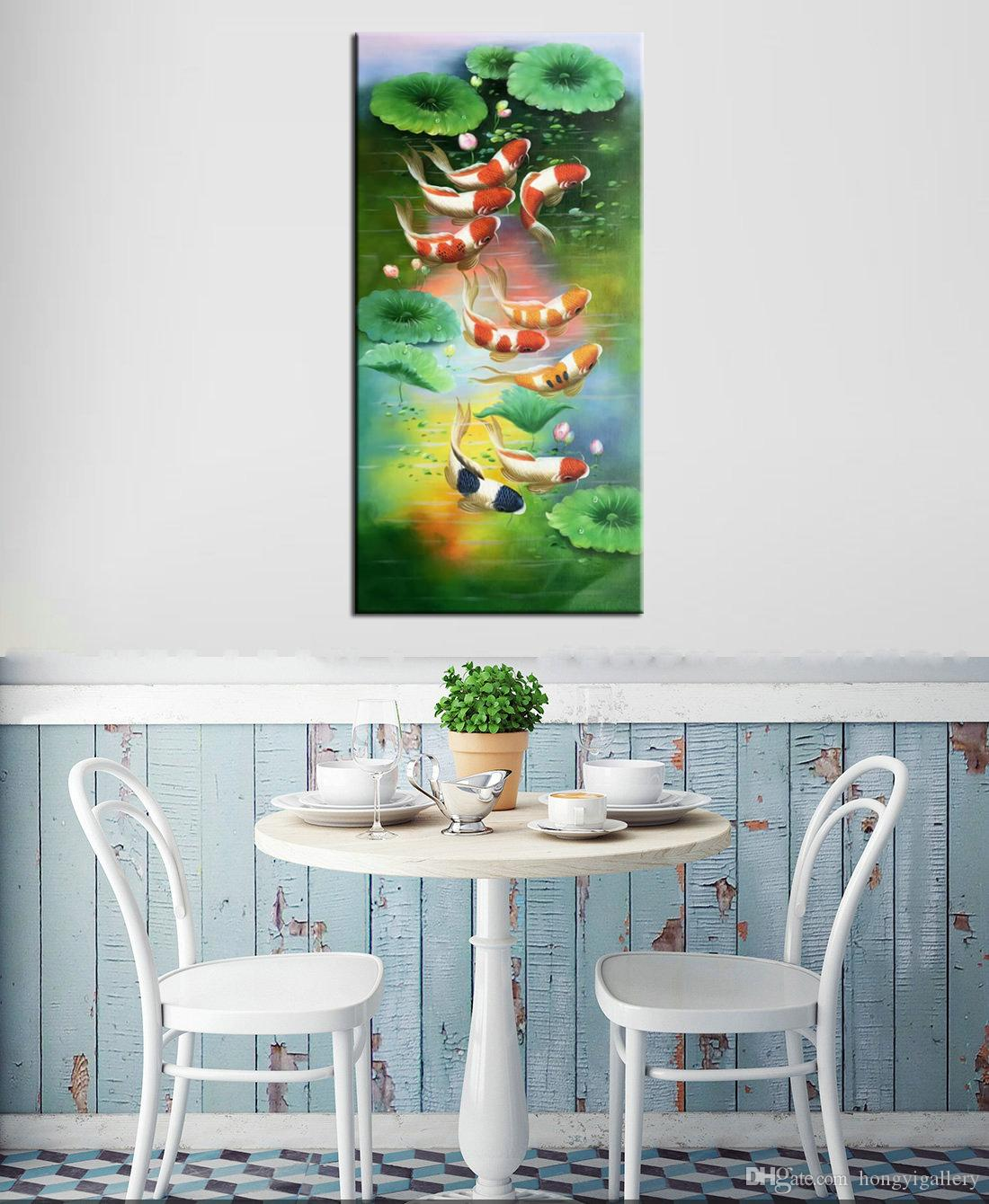 2019 100 Hand Painted Animal Feng Shui Koi Fish Oil Painting Wall Art China Wind Modern Canvas Living Room Bedroom Home Decoration Afs065 From