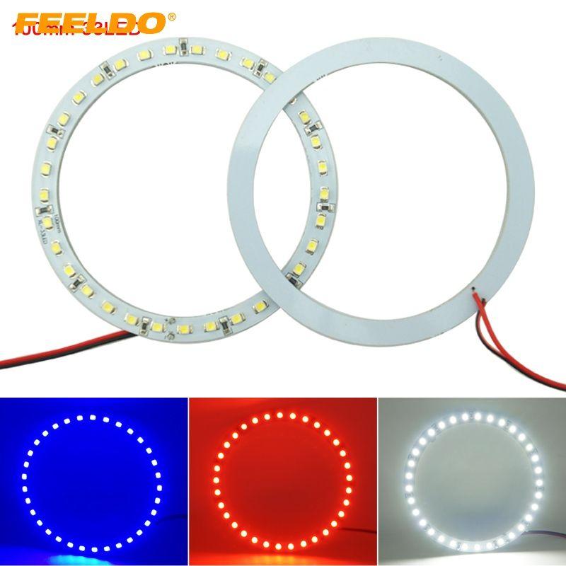 Feeldo 2pcs /ロット100mmの車の天使の目1210/3528 33m / 3528 33smd LEDのヘッドライトハローリングエンジェルアイライティングホワイトレッドブルー#2672