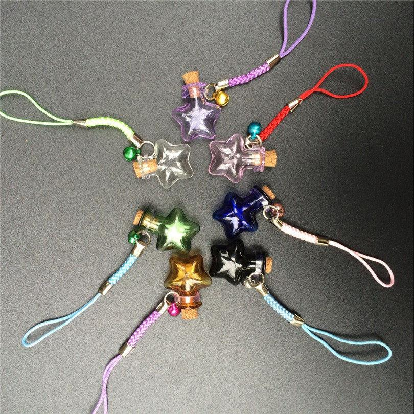 Mini Stars Bottles Crafts with Nylon Rope Key Chains Mini Bracelets Jars Glass BottlesCrafts Mixed Color 7pcs Free Shipping