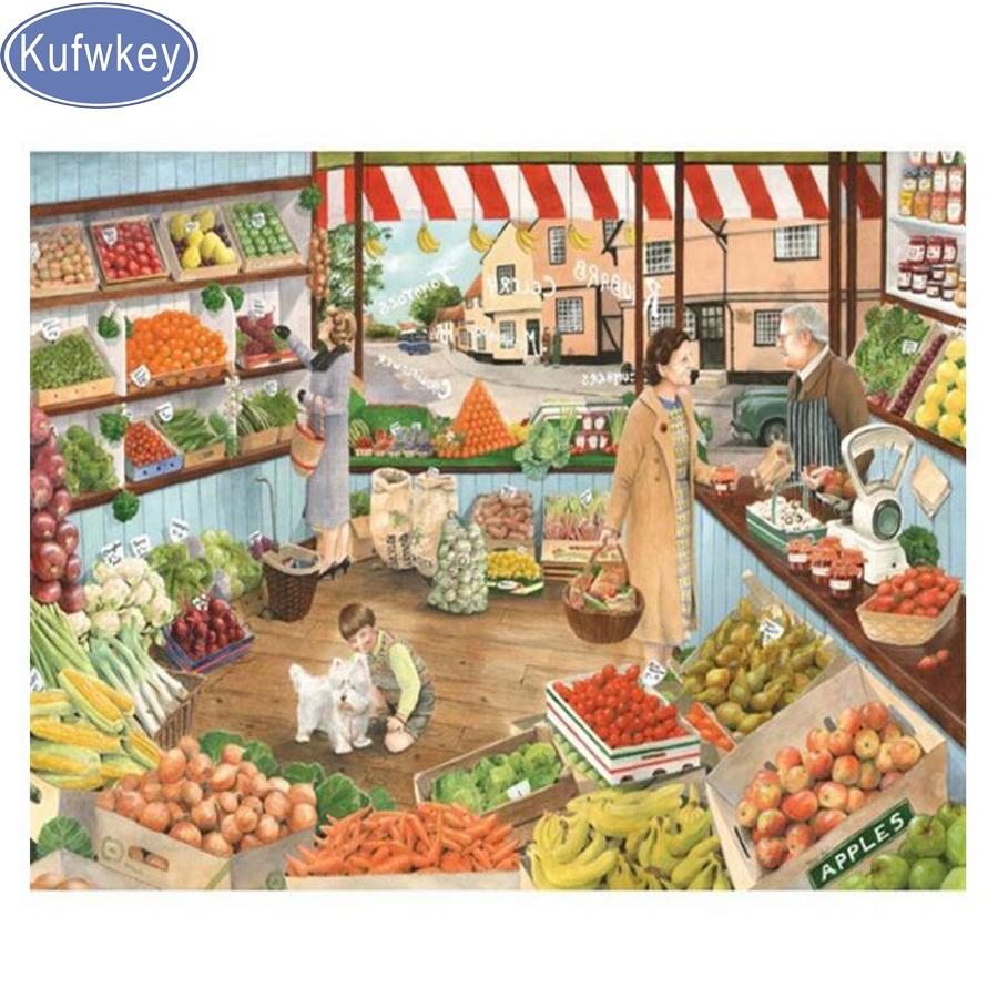 "wholesale full diamond embroidery ""fruit store""mosaic 5d diamond painting cross stitch landscape square rhinestone painting 3d"
