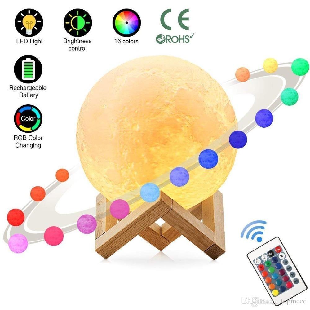 3D LED ليلة 16colors السحرية القمر LED ضوء القمر مكتب مصباح USB قابلة للشحن 3D ضوء الألوان ستبليس للأضواء عيد الميلاد أو الهدايا