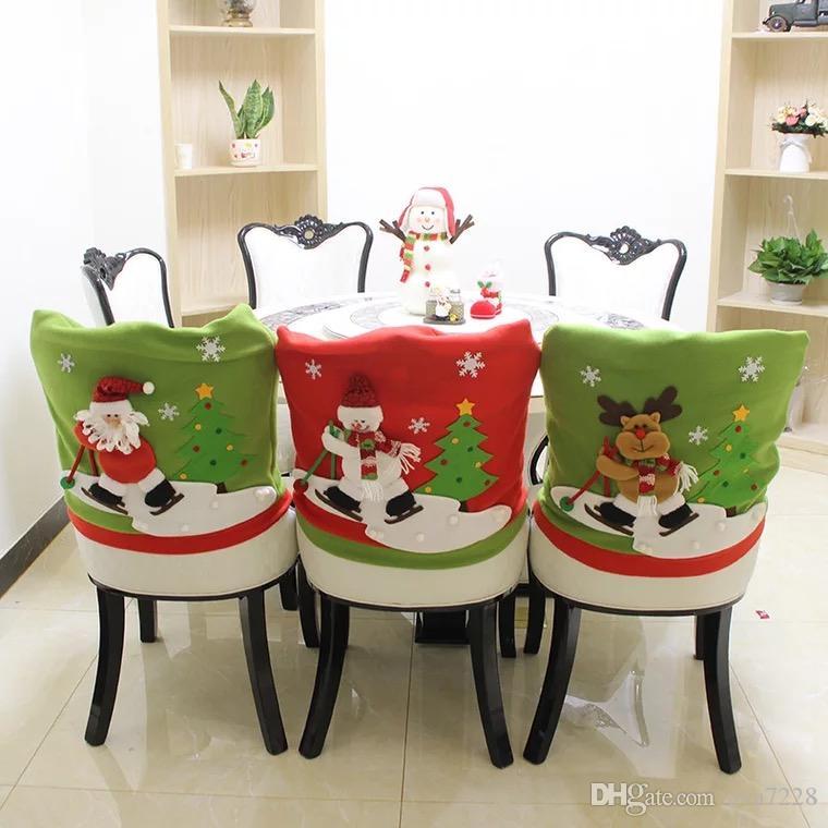 Лучшие Продажи 3 Шт. Набор Санта Hat Hat Чехлы на стулья Рождественский Декор Обеденный Стул Xmas Cap Наборы