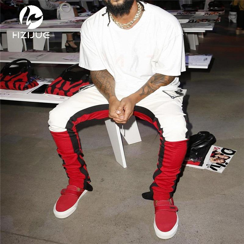 Pantalones de chándal Patchwork de bloque de color vintage 2018 Hip Hop Cremallera lateral de cintura elástica casual Pantalones de chándal Streetwear
