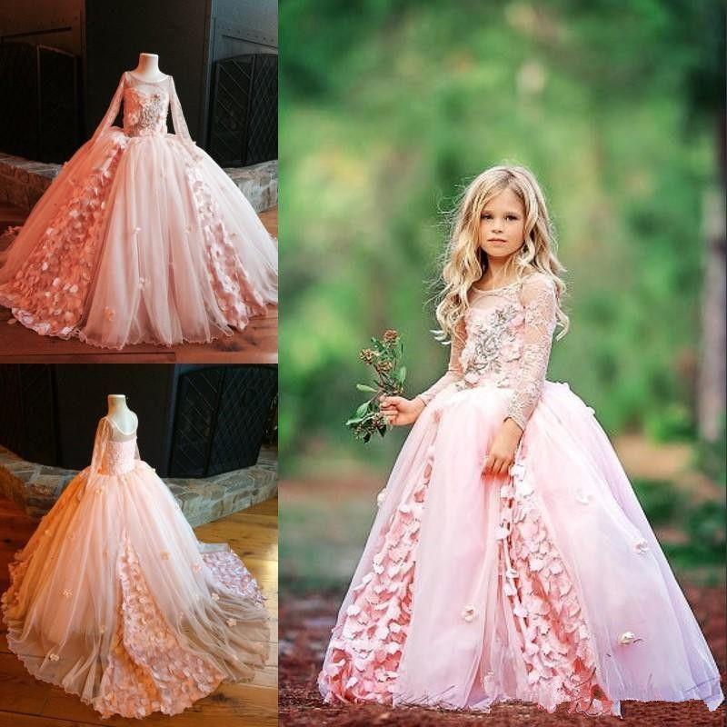 웨딩 레이스에 대 한 꽃의 소녀 드레스 긴 소매 Applique Tulle Sweep Sweep Train 미씩 꽃가루 드레스 멋진 빈티지 소녀 생일 가운