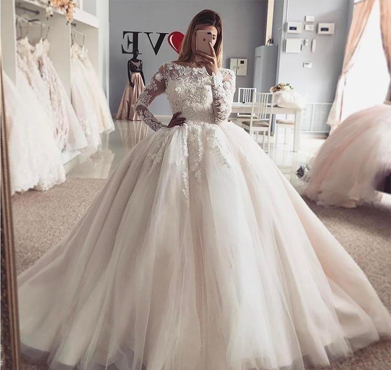 Acheter 2019 Vintage Arabe Dubai Robe De Mariee Princesse Puffy Pure Manches Longues En Dentelle Appliqued Tulle Mariee Robe De Mariee Plus La Taille