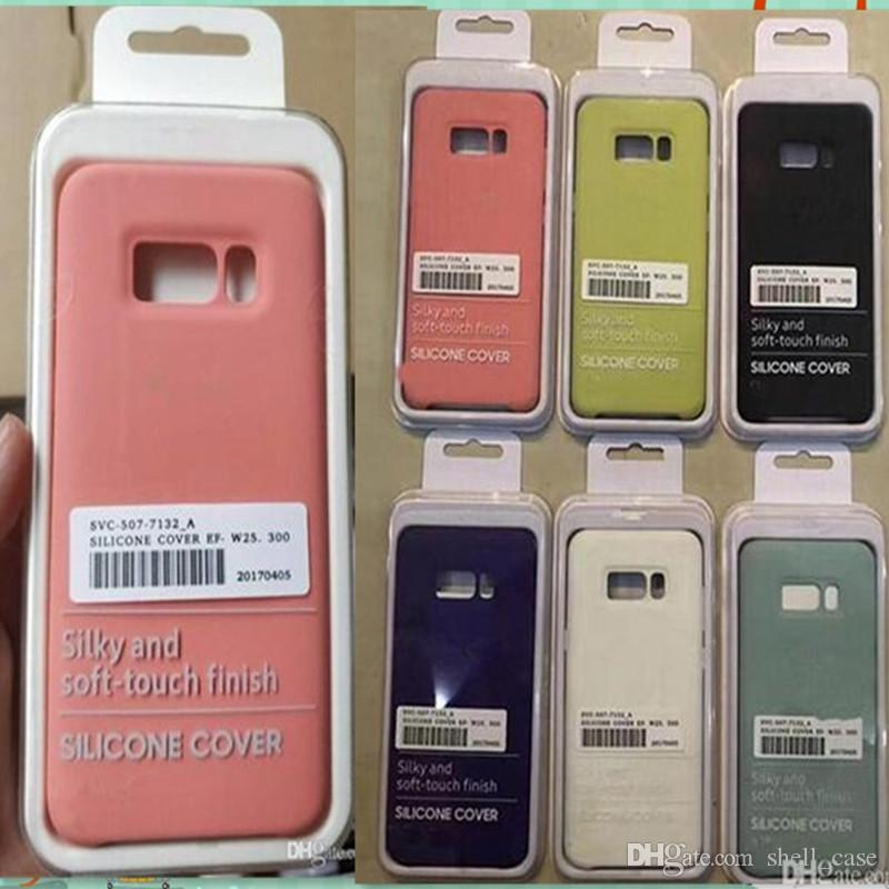 wholesale dealer 333ba 372a7 For Samsung S9 S8 Silicone Case With Retail Box Official Original Style  Slim Silicon Rubber Cover Luxury Cases For Samsung Galaxy S8 S9 Plus Cell  ...