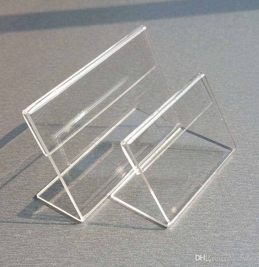 سعر العرض بطاقة تسمية الاكريليك T1.3mm مسح الجدول البلاستيك تسجيل حاملي بطاقة ورقة دعائية الصغيرة L الشكل تقف 50PCS