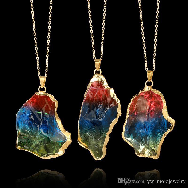 Америка и Европа Популярных женщин Природной Радуга Нерегулярного камень ожерелье позолоченный Металл цепь ожерелье на продажу