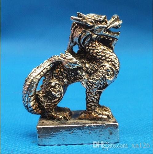 Chinese Old tibet Silver Bronze Old fine Rare Tibet Silver Dragon Statue decoration metal handicraft