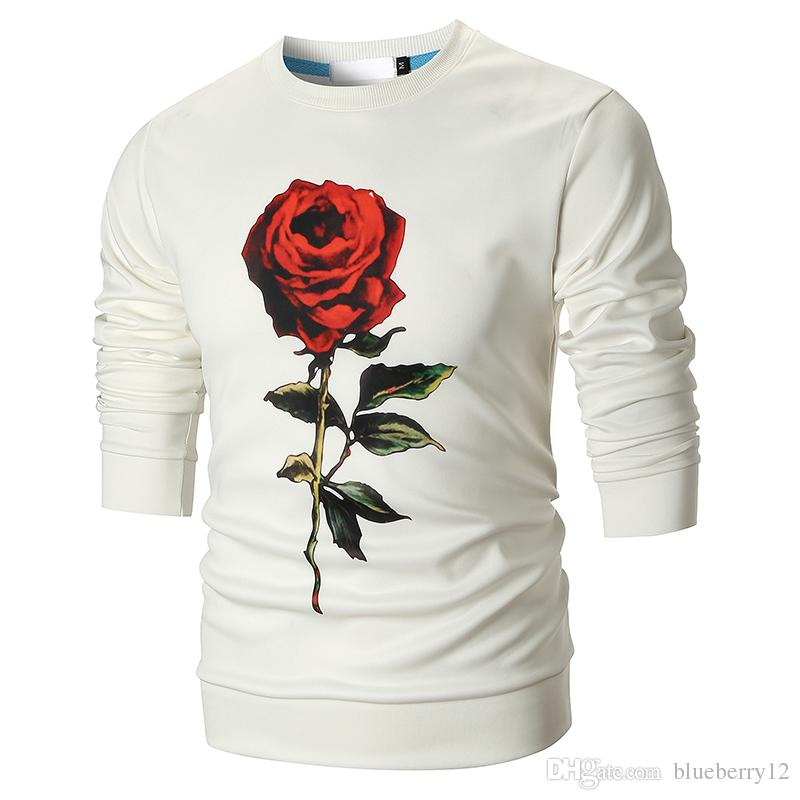 Rose Prinetd Sweatshirts Mens Fashion Crew Neck Pullovers Roses Patterns Black and White Floral Tops M - 3XL