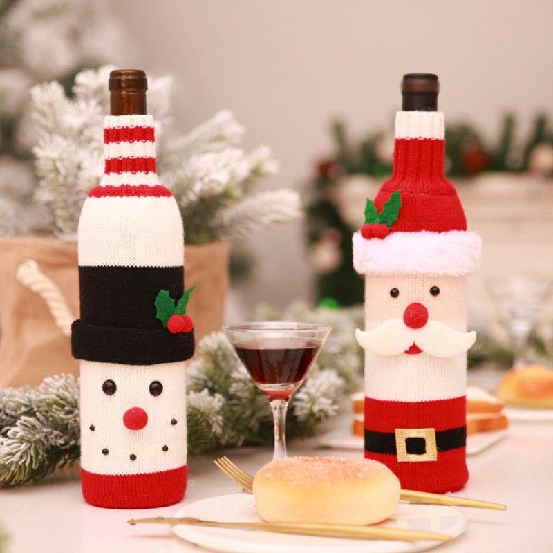 Weihnachten Weinflasche Tasche Santa Claus Schneemann Strickpullover Flaschen Abdeckung New Year Decor Home Bar Tisch Partei liefert