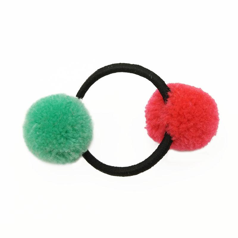 5Pcs/Lot Double Pom Balls Girls' Hair Ties Ponytail Holder Kids Accessories Rope Rubber Hair Band Tie Gum