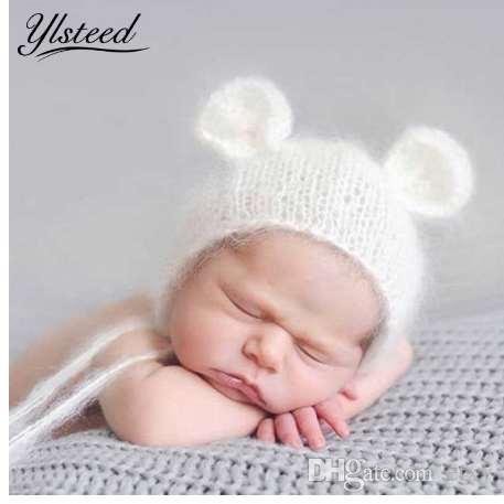 Neonato mohair orecchino cappello neonato fotografia puntelli bambino cap gorro crochet knit morbido mohair cappelli cofano bambino fotografia puntelli