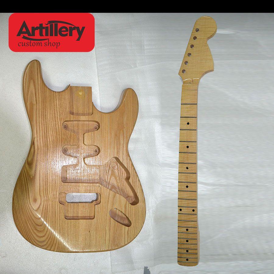 공장 사용자 정의 메이플 목 지판과 함께 반쯤 완료된 ST 일렉트릭 기타 애시 바디 기타 기타 뮤지컬 instument shop
