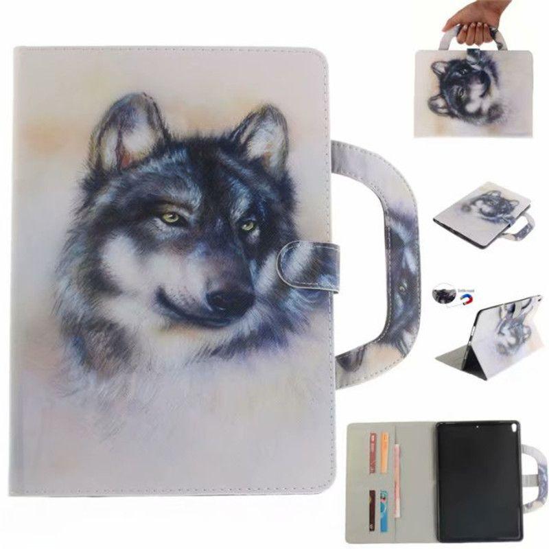 Funda para iPad Pro 10.5 pulgadas Funda para tableta Manija Cubierta plegable Soporte Billetera de cuero Bolsa Tarjeta Color dibujo Tiger Lion lobo