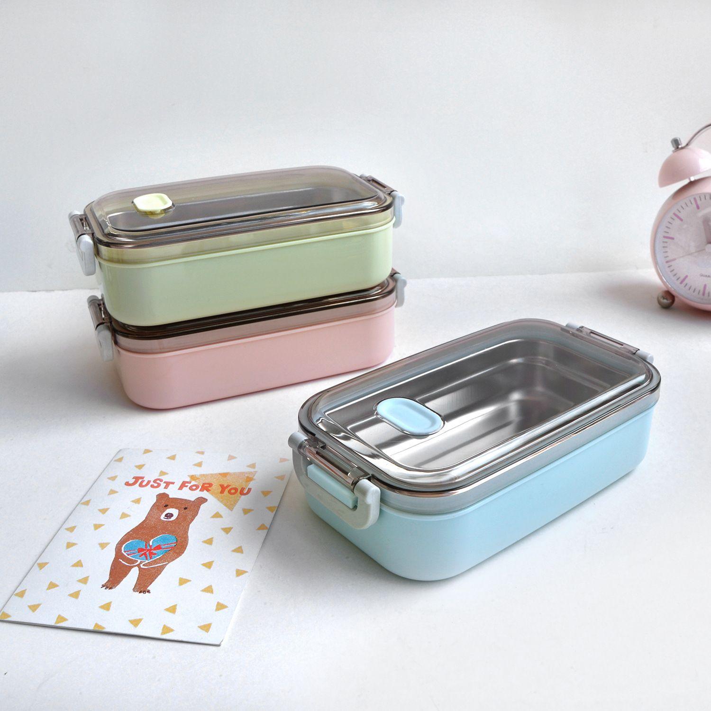 스테인레스 스틸 도시락 상자 식품 용기 보관함 3 뚜껑이있는 누출 방지 기능 어린이를위한 전자 레인지 식품 도시락 상자 성인 피크닉