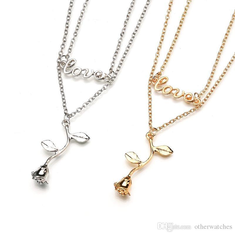 Романтические модные индивидуальные аксессуары литые буквы Розовые ожерелья