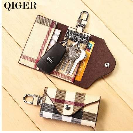 Qiger moda plaid multifunzionale chiave del supporto del raccoglitore uomini / donne portachiavi borsa auto chiavi borsa in pelle fibbia chiave portafoglio caso