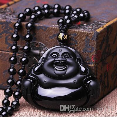 Natural preto genuíno pedra Maitreya Buddha pingente homens e mulheres colar Hei Yao Shi rir Buddha jade pingente de jóias