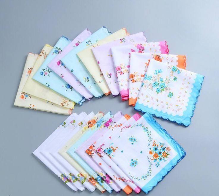 Ladies Poly Cotton Handkerchiefs 8 Pack White Floral Design Good Value Hankies