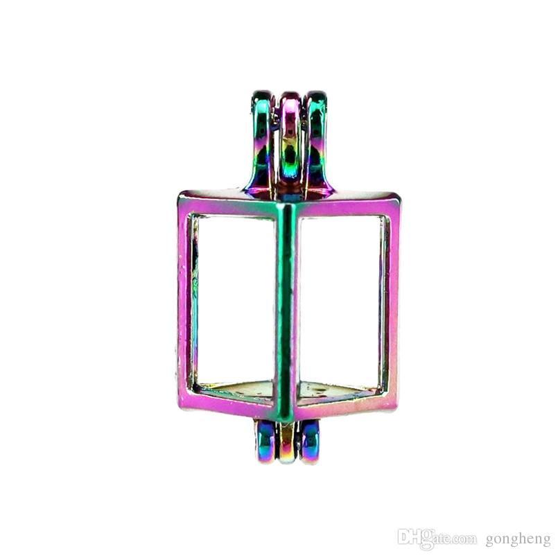 10 sztuk / partia Rainbow Color Square Pearl Koraliki Klatka Medalionowe Wisiorek Dyfuzor Aromaterapia Perfumy Olejek Oleje Dyfuzor Pływający Pom