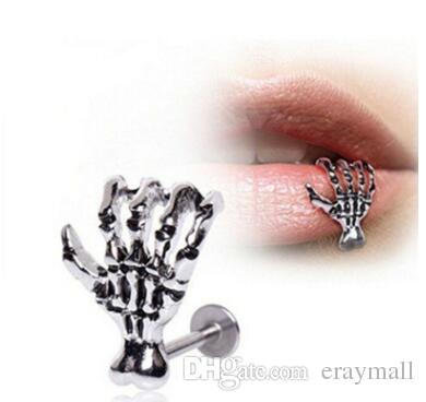 Skeleton hand lip nail studs skull stainless steel lip piercing jewelry punk lip rings labret 17
