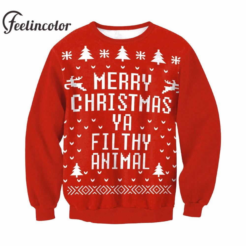 kerst trui 2020 2020 Feelincolor New Christmas Sweater Men Santa Clus Unisex Kerst