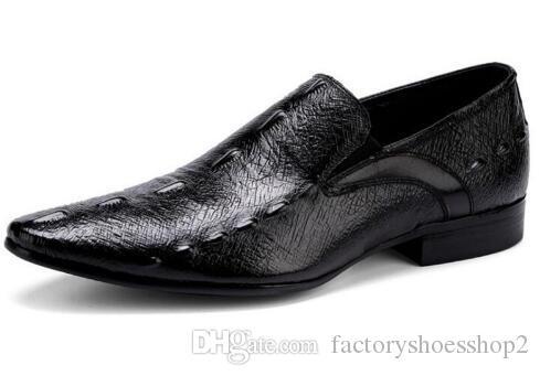 Vendita calda uomini di lusso in pelle di alligatore scarpe da sera in pelle marrone nero maschio festa di nozze scarpe per uomo d'affari scarpe