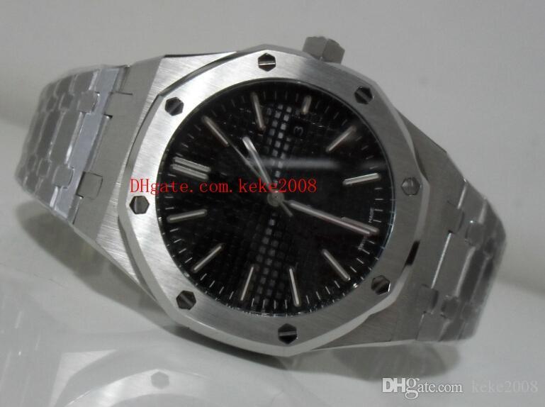 Relógio de luxo Royal Oak N8 Fábrica 41mm 15400 15400ST.OO.1220ST.03 Black Dial Aço Inoxidável Mecânico Transparente Automático Mens Relógios