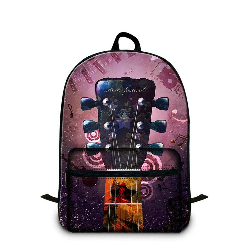 Guitar Printing School Backpack For Teenage Girls Boys Women Canvas Laptop Bag Rucksack Children's Daily Daypacks Unisex Bagpacks Schoolbags