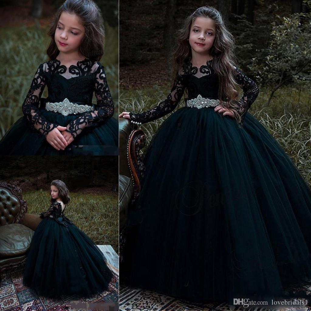 2018 robes de filles de fleurs noires pour les mariages avec dentelle appliques à manches longues en cristal Sash princesse enfants Birthday Girl robes de reconstitution historique
