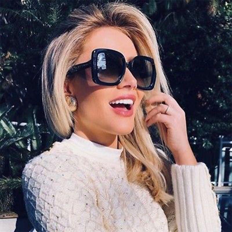 Luxury Sun 2019 Fashion Fashion High D Brand Designer telaio in plastica per occhiali da sole Shades sfumatura Donne Lente Black Square Quadrato Leoqm