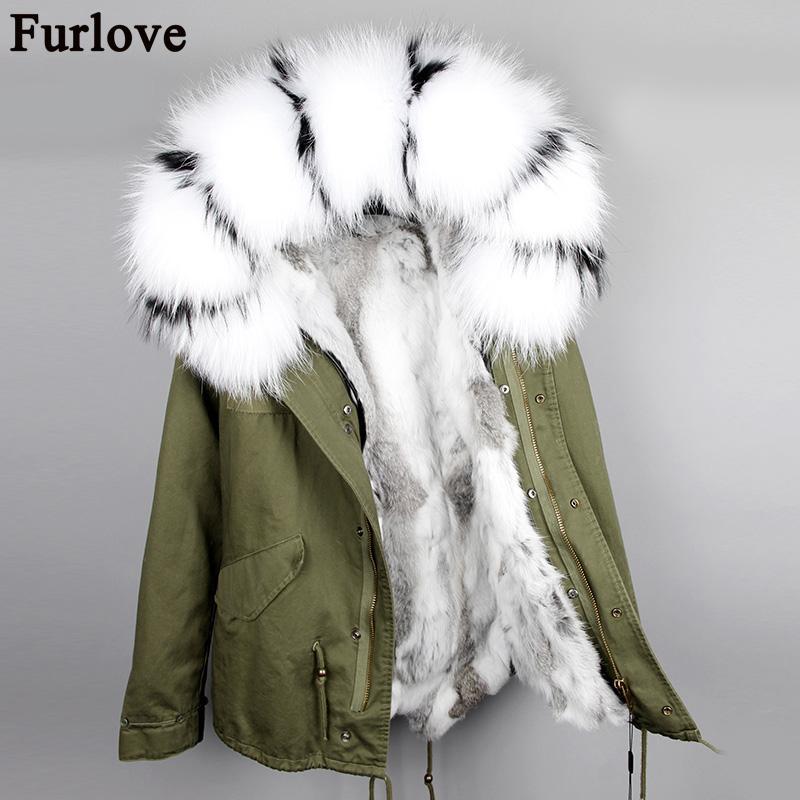 Furlove 패션 여성의 천연 모피로 안감 후드 코트 미니 파카 대형 너구리 모피 칼라 착실히 보내다 겨울 재킷