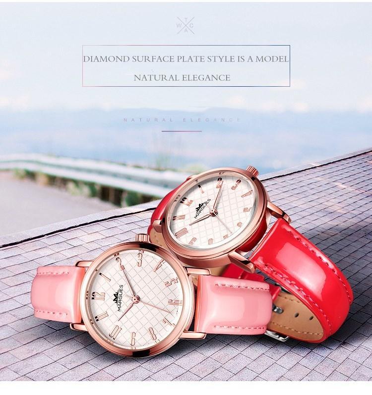 2018 nouvelle marque MARGUES montre à quartz pour les femmes populaires Ling grille cadran montres de mode casual couleur unie bracelet en cuir horloge 030