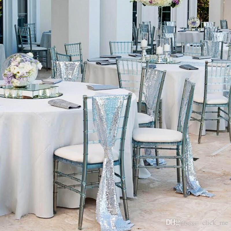 실버 스팽글 웨딩 의자 새시 크기 50 * 200cm 주문 제작 웨딩 파티 장식 눈부신 의자 리본 의자 커버 무료 배송 사용자 정의
