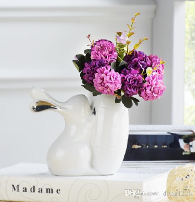 Bianco ceramica creativa coniglio fiori vaso home decor artigianato decorazione della stanza dei bambini regali di nozze figurine di animali in porcellana
