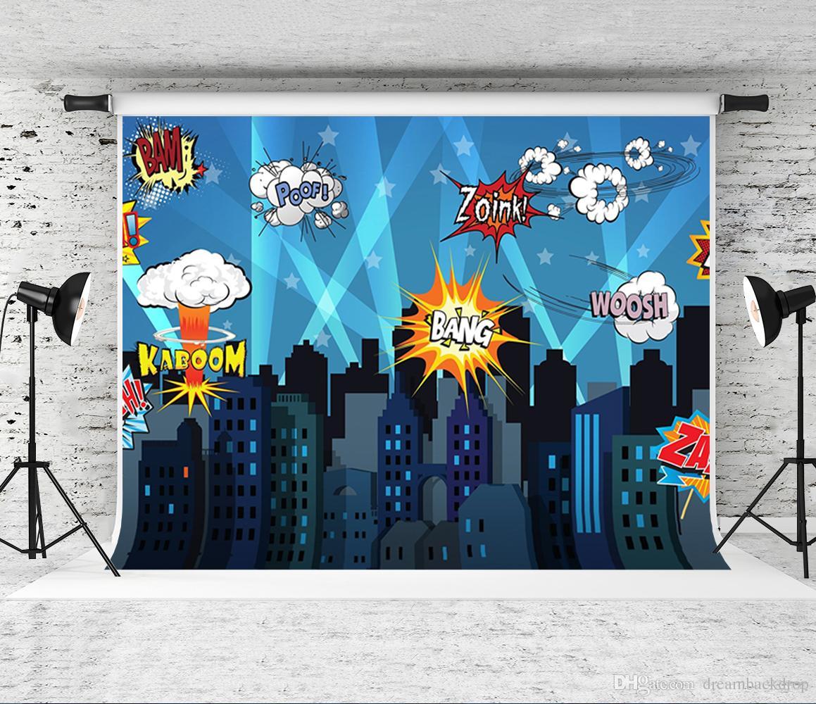 Superhero Cityscape Photography Backdrop Baby Shower Birthday Party Decorations