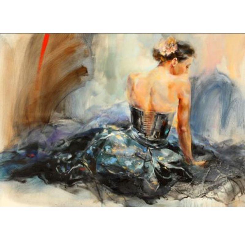 Pure Hand Painted Handcraft Portrait Ölgemälde auf Leinwand Kein gestrecktes Art Girl 24x36inch Home Decor