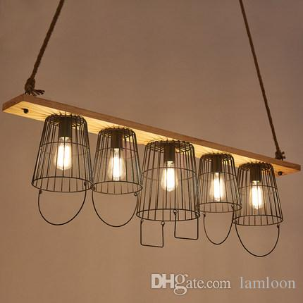Cubo industrial creativo led lámparas colgantes lámparas para cafetería bar club hotel decoración colgante de iluminación de cáñamo cuerda colgante luces