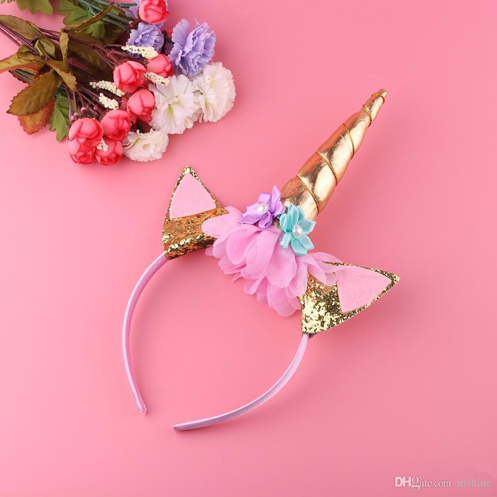 Nishine oro / argento Unicorn fascia del corno a mano del partito dei capretti Headwear del regalo di compleanno Hairband fascia degli accessori dei capelli