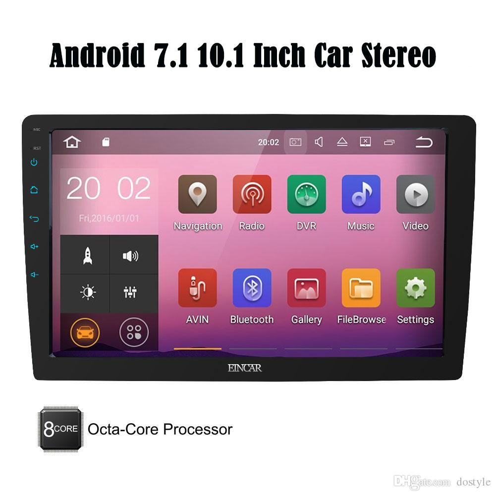 """EinCar 10.1"""" Android 7.1 32GB+2GB Octa-Core Adjustable Angle Double Din Car Stereo Bluetooth GPS Navigation OBD WIFI 3G 4G DAB"""
