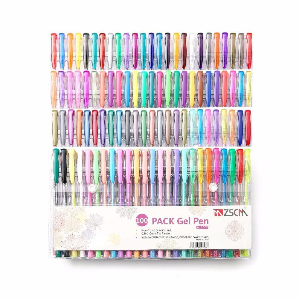 60 100 색 겔 펜 세트 스케치 Fineliner 컬러 펜 메탈릭 파스텔 네온 반짝이 스케치 컬러 학교 문구