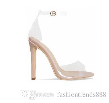 Оранжевый желтый прозрачный ПВХ шпильках женщин сандалии лодыжки пряжки ремень женщины насосы Peep Toe вырезы высокие каблуки обувь