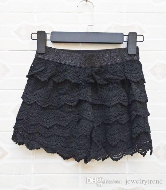 Koronki damskie Szorty Hollow Out Warstwy Mini Spodenki Lady Causal Slim Black Shorts