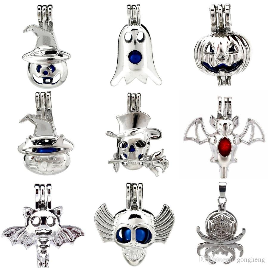 9pcs/lot Silver Happy Halloween Theme Costume Party Ghost Oysters Beads Cage Locket Pendant Aromatherapy Perfume Essential Oils Diffuser