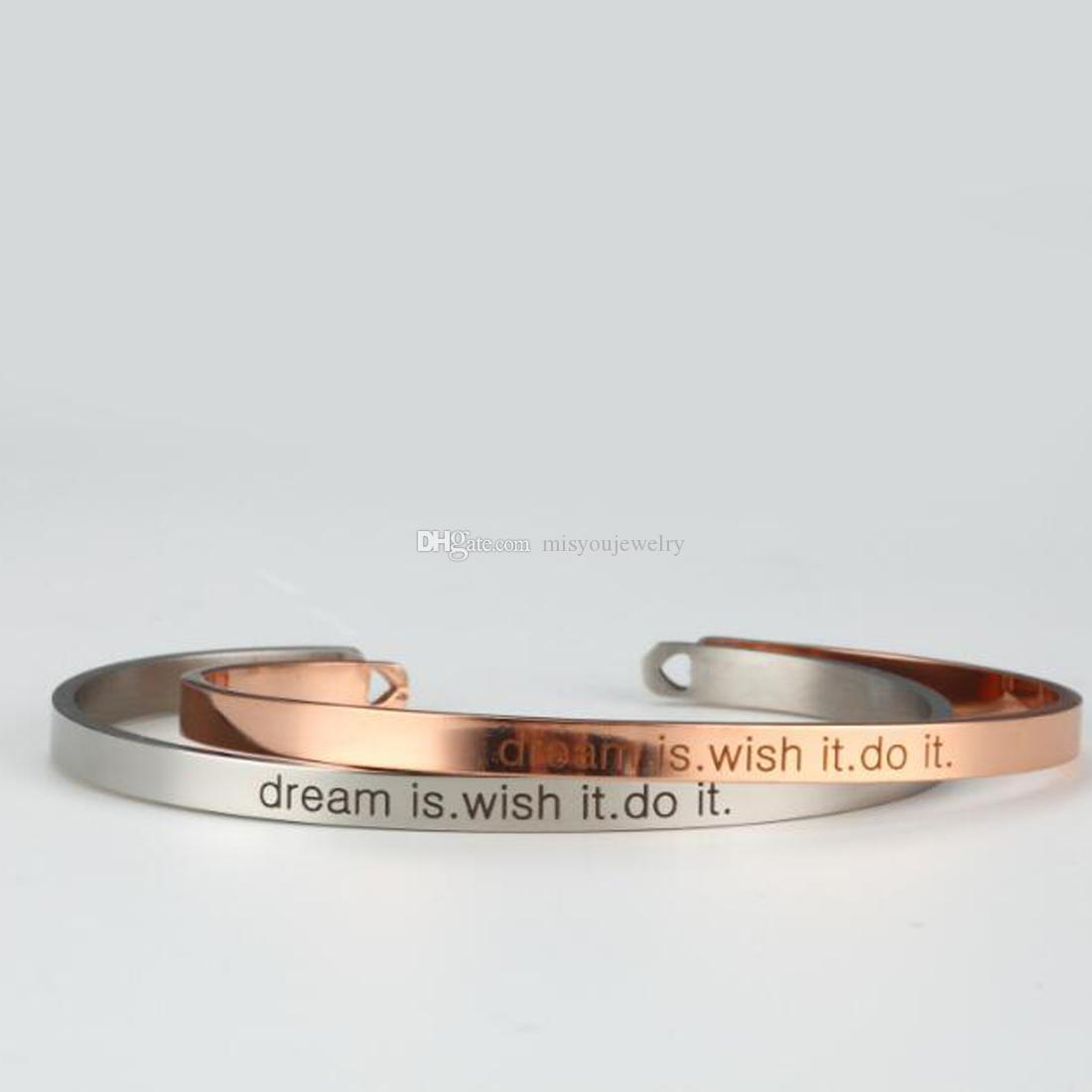 Fashion jewelry accessories Inspiration Bracelet,dream it wish it do it Bracelet,Friendship Bracelet Fine jewelry